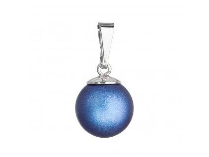 Stříbrný přívěšek s kulatou tmavěmodrou matnou Swarovski perlou 34150.3