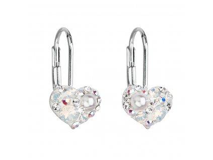 Stříbrné náušnice visací s krystaly Swarovski bílé srdce 31125.9