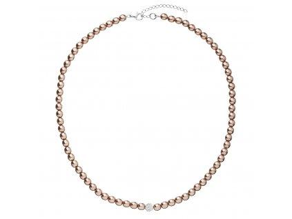 Perlový náhrdelník hnědý s krystaly Swarovski 32063.3