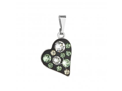 Přívěsek bižuterie se Swarovski krystaly zelené srdce 54027.3