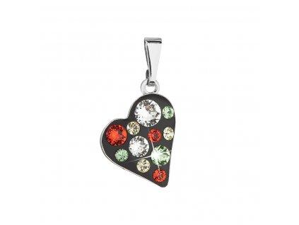 Přívěsek bižuterie se Swarovski krystaly červené srdce 54027.3