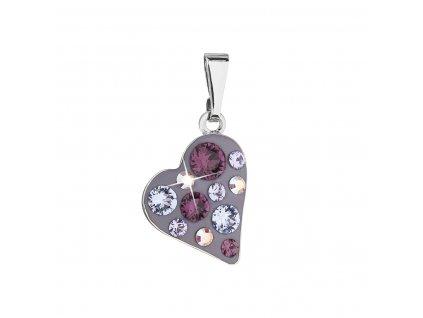 Přívěsek bižuterie se Swarovski krystaly fialové srdce 54027.3