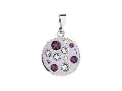 Přívěsek bižuterie se Swarovski krystaly fialový kulatý 54024.3