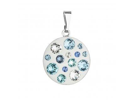 Přívěsek bižuterie se Swarovski krystaly modrý kulatý 54022.3