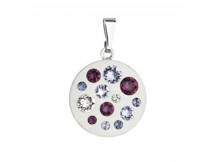 Přívěsek bižuterie se Swarovski krystaly fialový kulatý 54022.3 violet