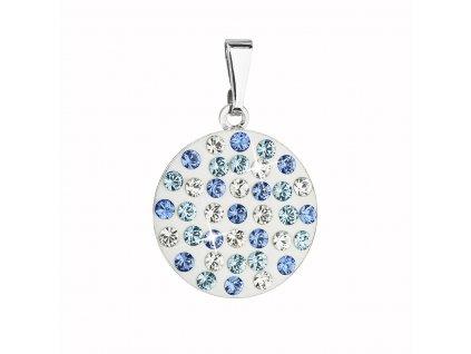 Přívěsek bižuterie se Swarovski krystaly modrý kulatý 54021.3