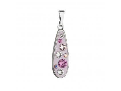 Přívěsek bižuterie se Swarovski krystaly růžová kapka 54025.3