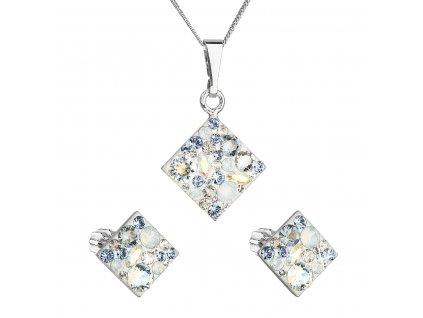 Sada šperků s krystaly Swarovski náušnice a přívěsek mix barev kosočtverec 39126.3 light sapphire