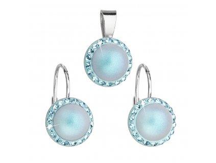 Sada šperků s krystaly Swarovski náušnice a přívěsek se světlemodrou matnou perlou kulaté 39091.3