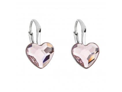 Stříbrné náušnice visací s krystaly Swarovski růžové srdce 31240.3
