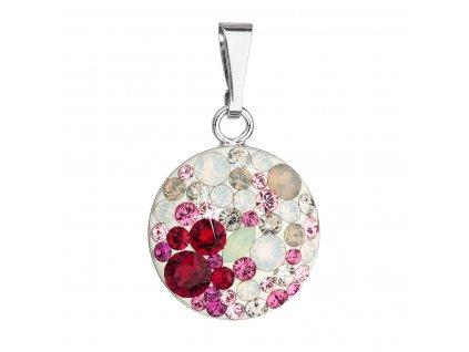 Stříbrný přívěsek s krystaly Swarovski mix barev 34225.3 sweet love