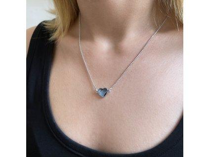 Stříbrný náhrdelník s krystalem Swarovski modré srdce 32061.3