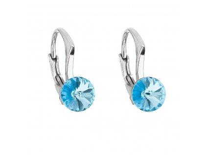 Stříbrné náušnice visací s krystaly Swarovski modré kulaté 31230.3 aquamarine