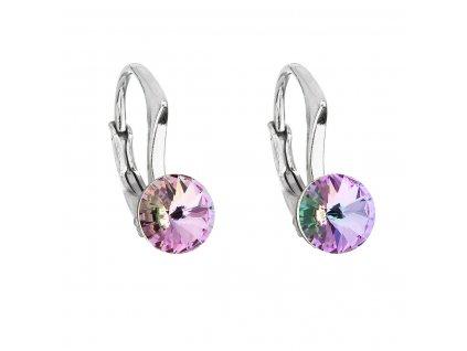 Stříbrné náušnice visací s krystaly Swarovski fialové kulaté 31230.5