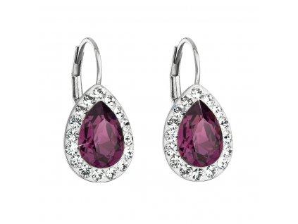 Stříbrné náušnice visací s krystaly Swarovski fialová slza 31242.3