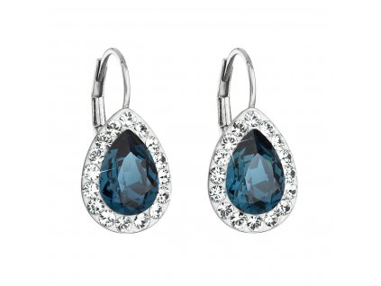 Stříbrné náušnice visací s krystaly Swarovski modrá slza 31242.3