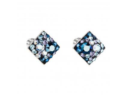 Stříbrné náušnice pecka s krystaly Swarovski modrý kosočtverec 31169.3 blue style