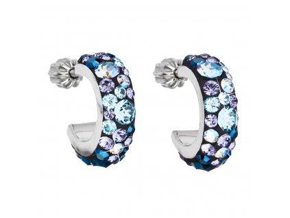 Stříbrné náušnice kruhy s krystaly Swarovski modrý půlkruh 31118.3 blue style