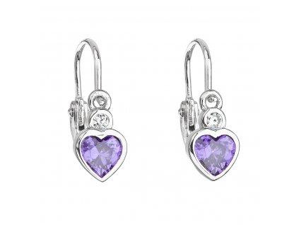 Stříbrné dětské náušnice visací se zirkonem fialové srdce 11178.3