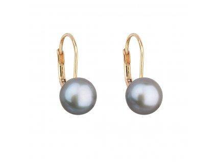 Zlaté 14 karátové náušnice visací s šedou říční perlou 921009.3