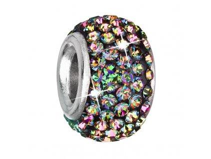 Stříbrný přívěsek s krystaly zelený kulatý 734083.5