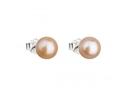 Stříbrné náušnice pecky s oranžovou říční perlou 21042.3