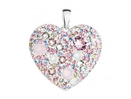 Stříbrný přívěsek s krystaly Swarovski mix barev srdce 34243.3 magic rose