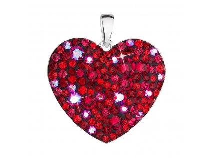 Stříbrný přívěsek s krystaly Swarovski červené srdce 34243.3 cherry