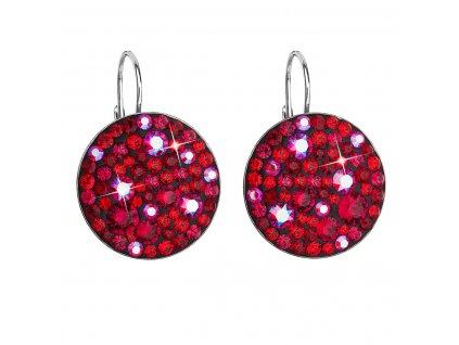 Stříbrné náušnice visací s krystaly Swarovski červené kulaté 31161.3 cherry