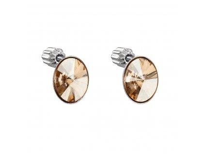 Stříbrné náušnice pecka s krystaly Swarovski zlatý ovál 31274.5