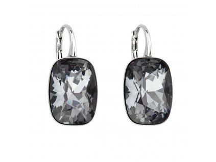Stříbrné náušnice visací s krystaly Swarovski černý obdélník 31277.5