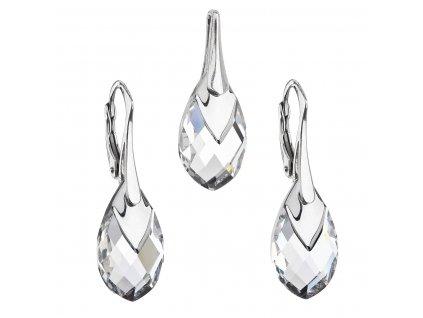 Sada šperků s krystaly Swarovski náušnice a přívěsek stříbrošedá slza 39169.4