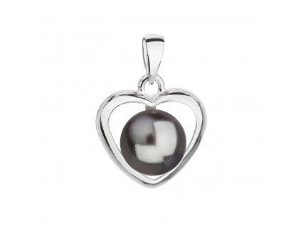 Stříbrný přívěsek s šedou Swarovski perlou srdce 34246.3