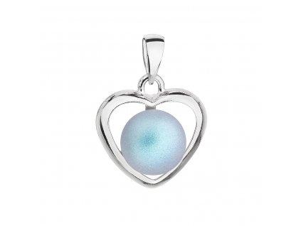 Stříbrný přívěsek se světlemodrou matnou Swarovski perlou srdce 34246.3