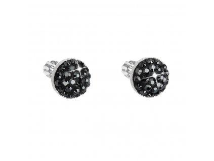 Stříbrné náušnice pecka s krystaly Swarovski černé kulaté 31336.5 hematite