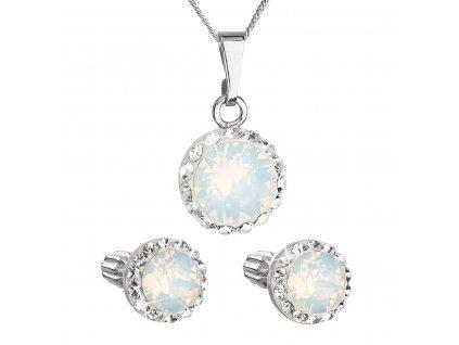 Sada šperků s krystaly Swarovski náušnice, řetízek a přívěšek bílé opálové kulaté 39352.7