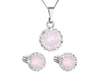 Sada šperků s krystaly Swarovski náušnice, řetízek a přívěšek růžové opálové kulaté 39352.7