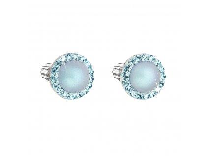Stříbrné náušnice pecka s krystaly Swarovski a světlemodrou matnou perlou kulaté 31314.3