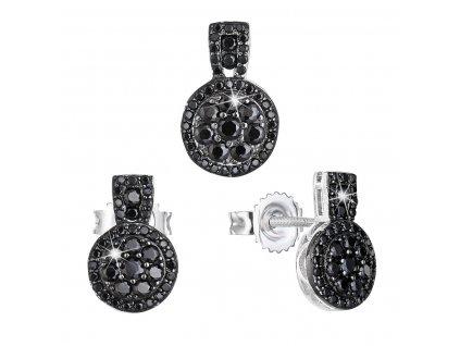 Sada šperků se zirkonem náušnice a přívěsek černé kulaté 19024.3