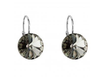 Stříbrné náušnice visací s krystaly Swarovski šedé kulaté 31106.3