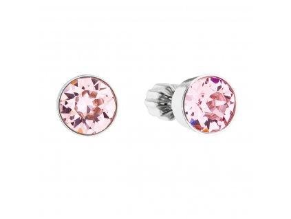 Stříbrné náušnice pecka se Swarovski krystaly růžové kulaté 31113.3 light rose