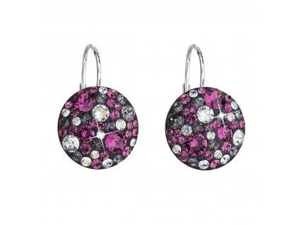 Stříbrné náušnice visací s krystaly Swarovski fialové kulaté 31176.3 dark amethyst