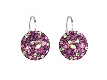 Stříbrné náušnice visací s krystaly Swarovski fialové kulaté 31176.3 amethyst
