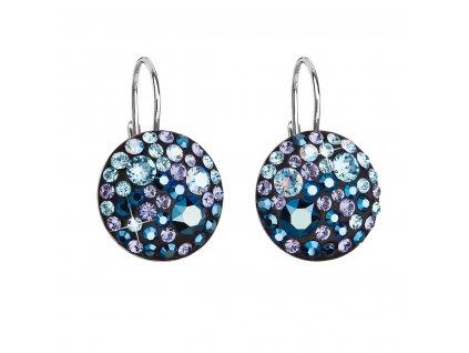 Stříbrné náušnice visací s krystaly Swarovski modré kulaté 31176.3 blue style