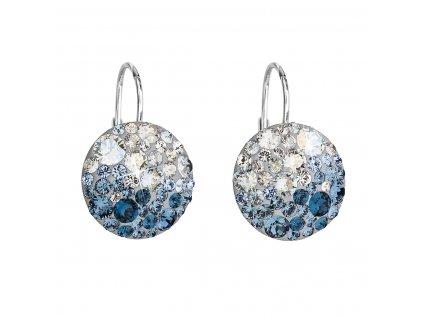 Stříbrné náušnice visací s krystaly Swarovski modré kulaté 31176.3 ice blue