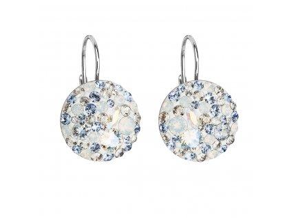 Stříbrné náušnice visací s krystaly Swarovski modré kulaté 31176.3 light sapphire