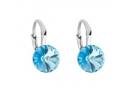 Stříbrné náušnice visací s krystaly Swarovski modré kulaté 31229.3 aqua
