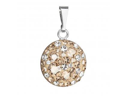 Stříbrný přívěsek s krystaly Swarovski zlatý kulatý 34225.5 gold