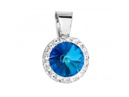 Stříbrný přívěsek s krystaly Swarovski modrý kulatý 34251.5