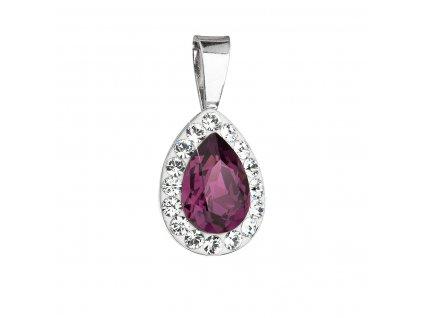 Stříbrný přívěsek s krystaly Swarovski fialová slza 34252.3